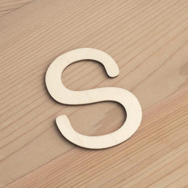 Wooden 6cm letter S