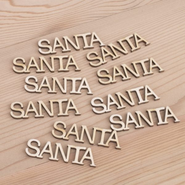 Mini wooden Santa words craft embellishment