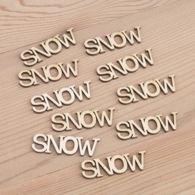 Mini wooden Snow words craft embellishment