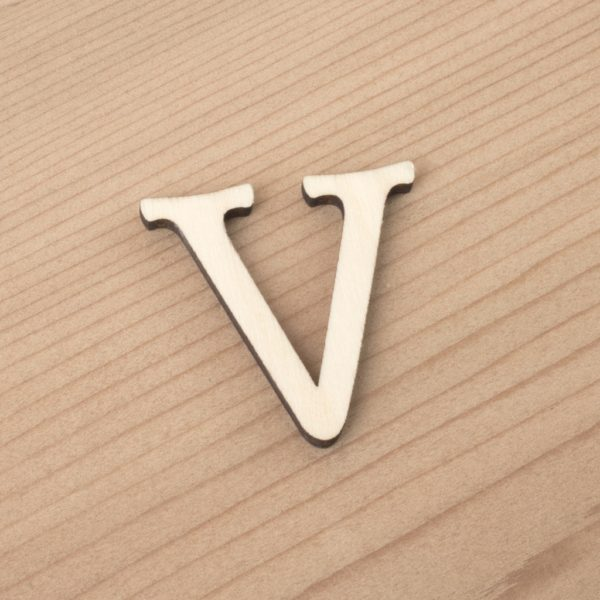 wooden 3cm alphabet letter V