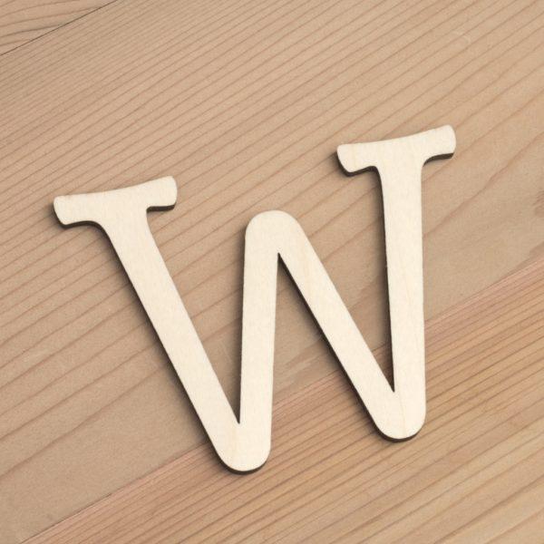 Wooden 6cm letter W