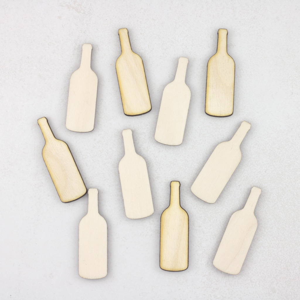 wooden wine bottles
