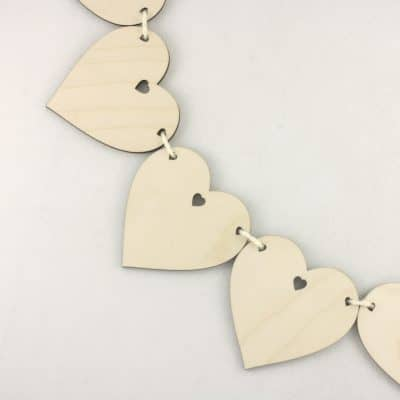 Wooden Heart in Heart Bunting Hanging Craft Decoration