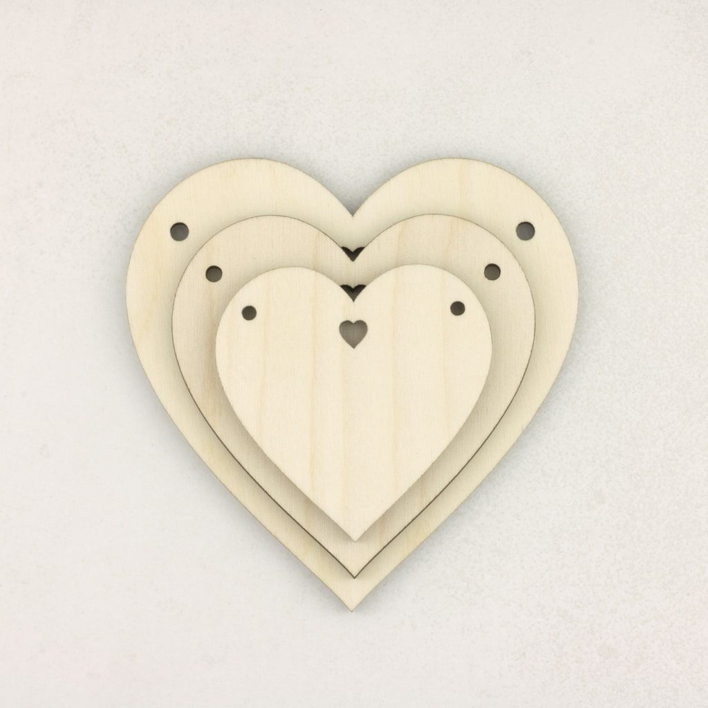 Wooden Heart with Hole Bunting