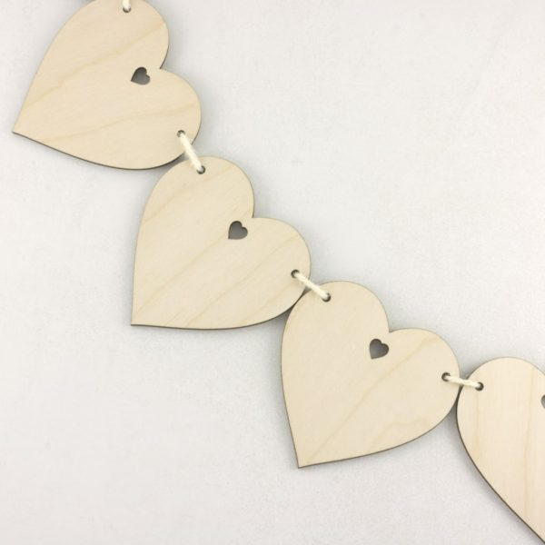 Wooden Heart with Hole Bunting Craft Decoration