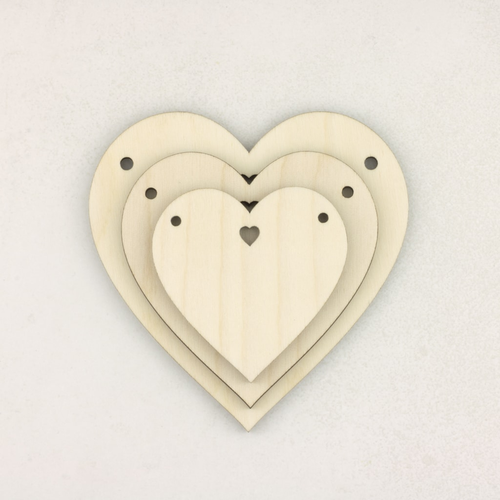 Wooden Heart with Hole Bunting for craft hanging