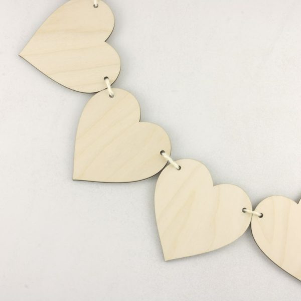 Wooden Plain Heart Bunting Hanging Craft Decoration