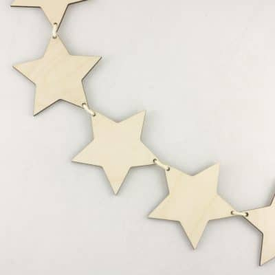 Wooden Star Bunting for craft hanging decoration
