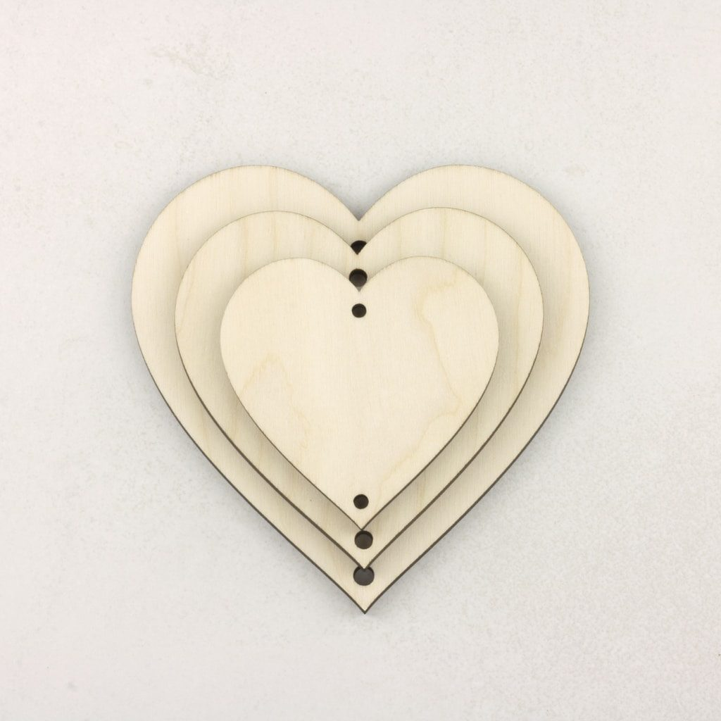 Wooden Vertical Heart Bunting