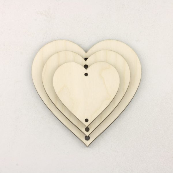 Wooden Vertical Heart Bunting Hanging Decoration Craft Hearts