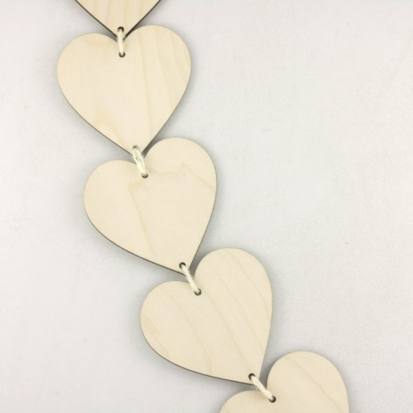 Wooden Vertical Heart Bunting for Craft Hanging Decoration