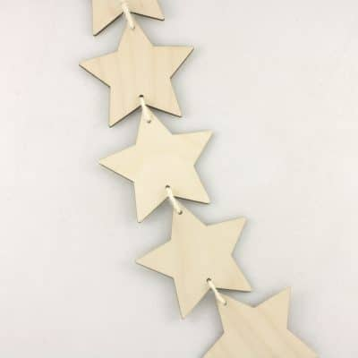 Wooden Vertical Star Bunting Hanging decoration for craft