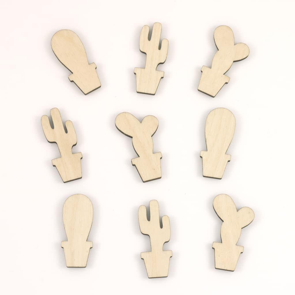 mini wooden cactus embellishments