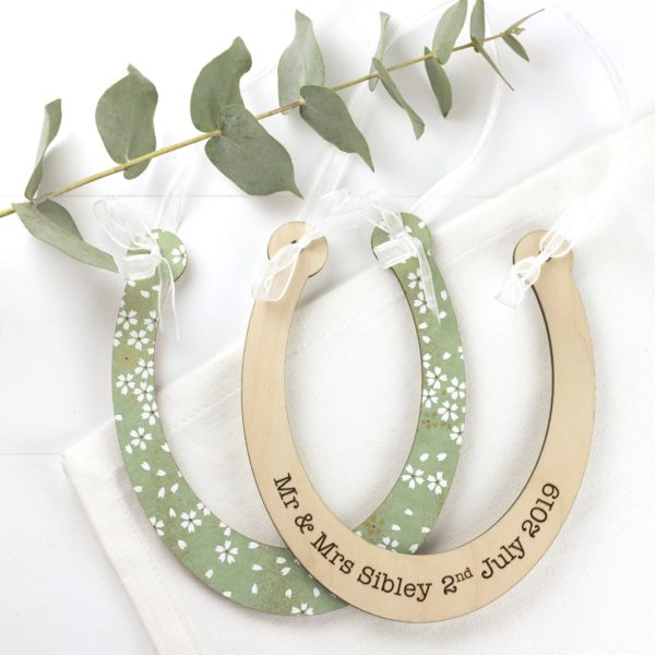 cherry blossom green personalised wedding horseshoe