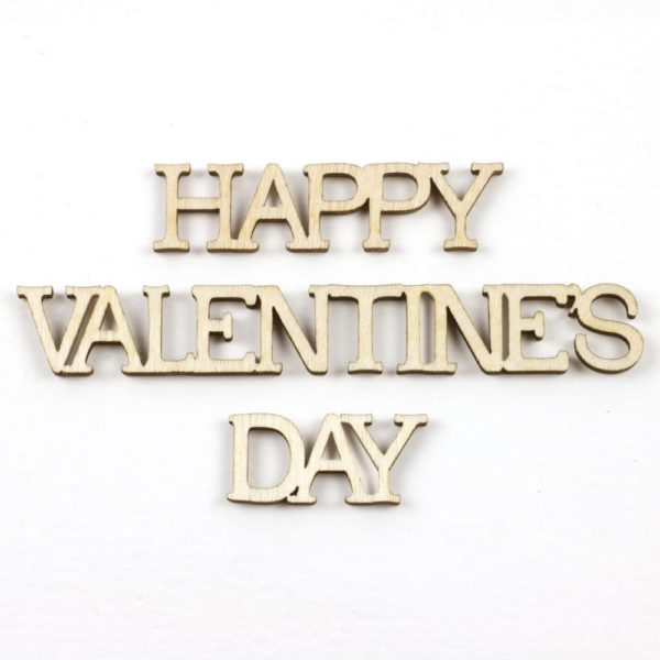 mini wooden 'happy valentine's day' words
