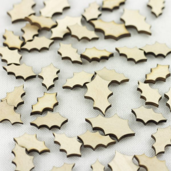mini wooden holly leaves
