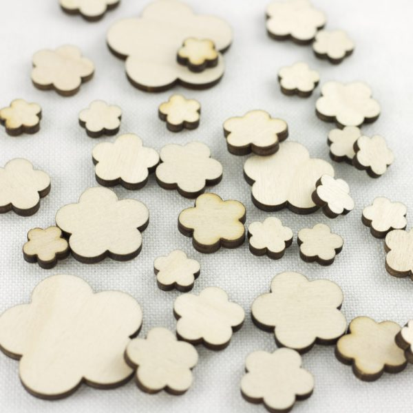 5 petal flower wooden embellishment for card making