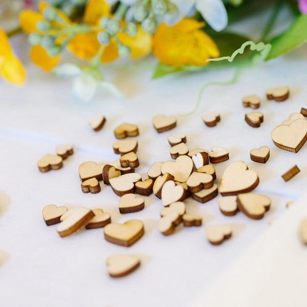 wooden mini mixed hearts
