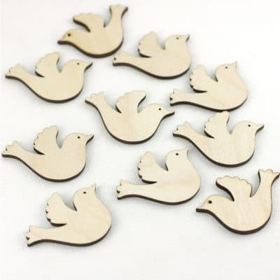 mini wooden doves