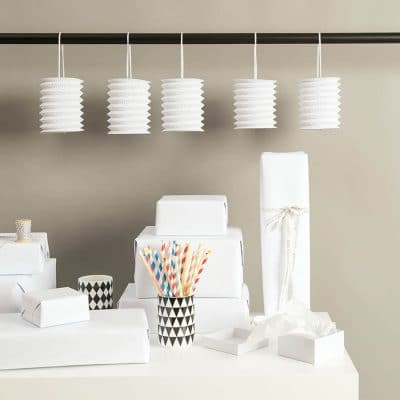 hanging paper lanterns white
