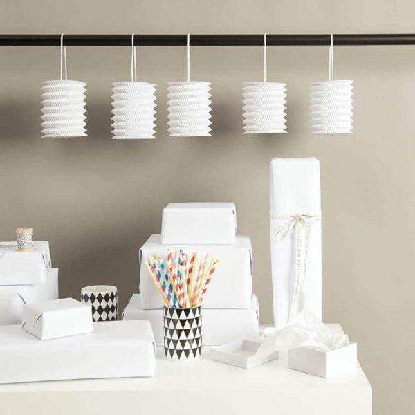 hanging paper lanterns white