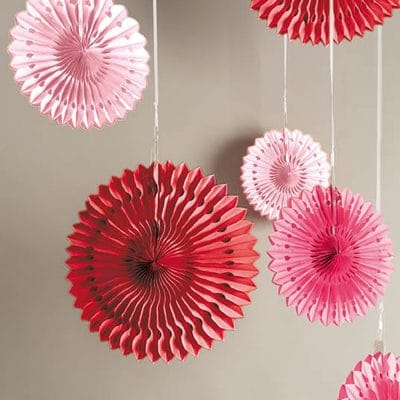 honeycomb paper wheels pink/red