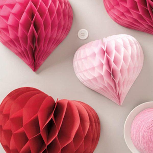 honeycomb paper hearts