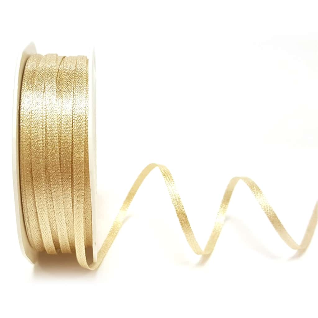 champagne gold sparkle satin ribbon 3mm