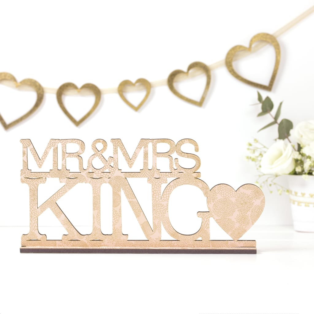 Peach Dahlia Personalised Mr & Mrs Sign