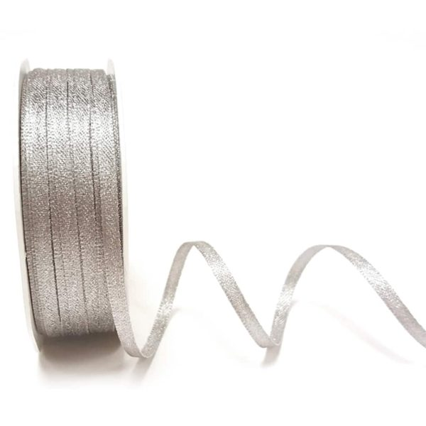 Dark Silver Sparkle satin ribbon 3mm