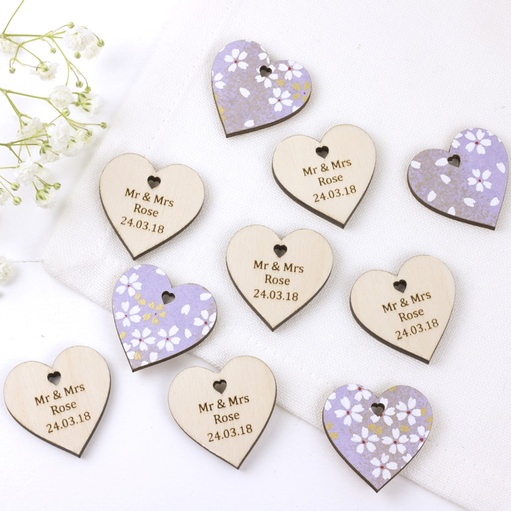 personalised wedding favour hearts cherry blossom lilac