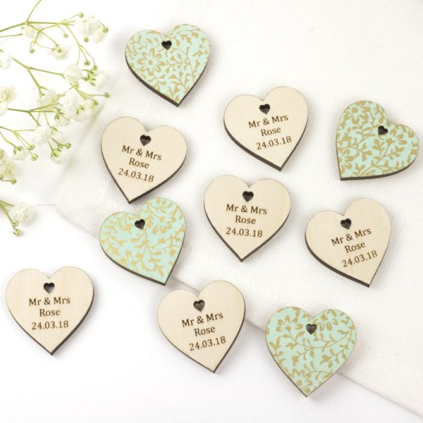 personalised wedding favour hearts duck egg blue