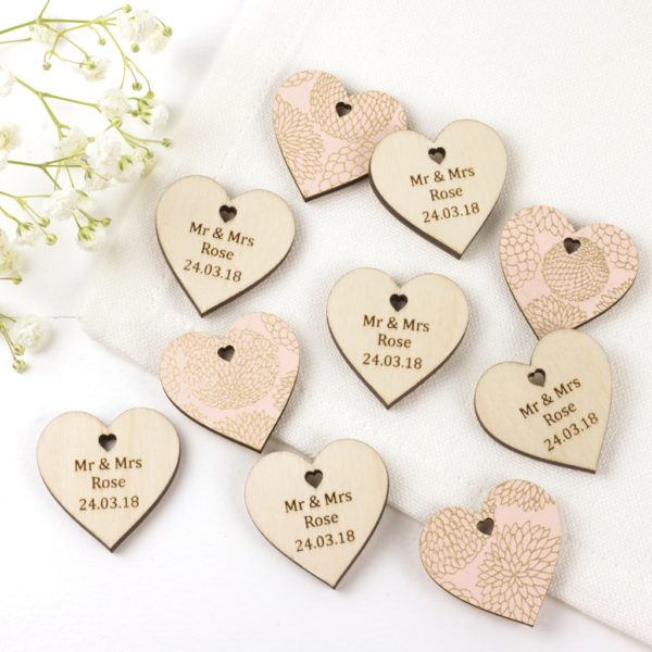 personalised wedding favour hearts peach dalhia