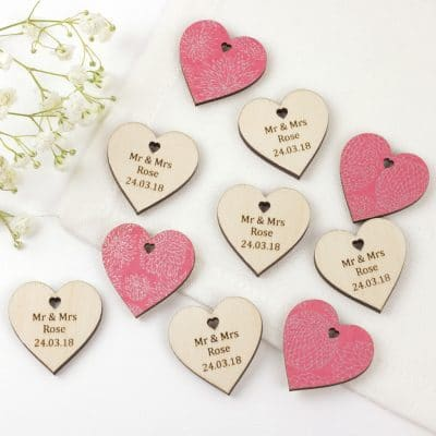 personalised wedding favour hearts pink dahlia