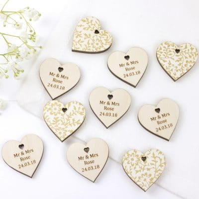 personalised wedding favour hearts white gold