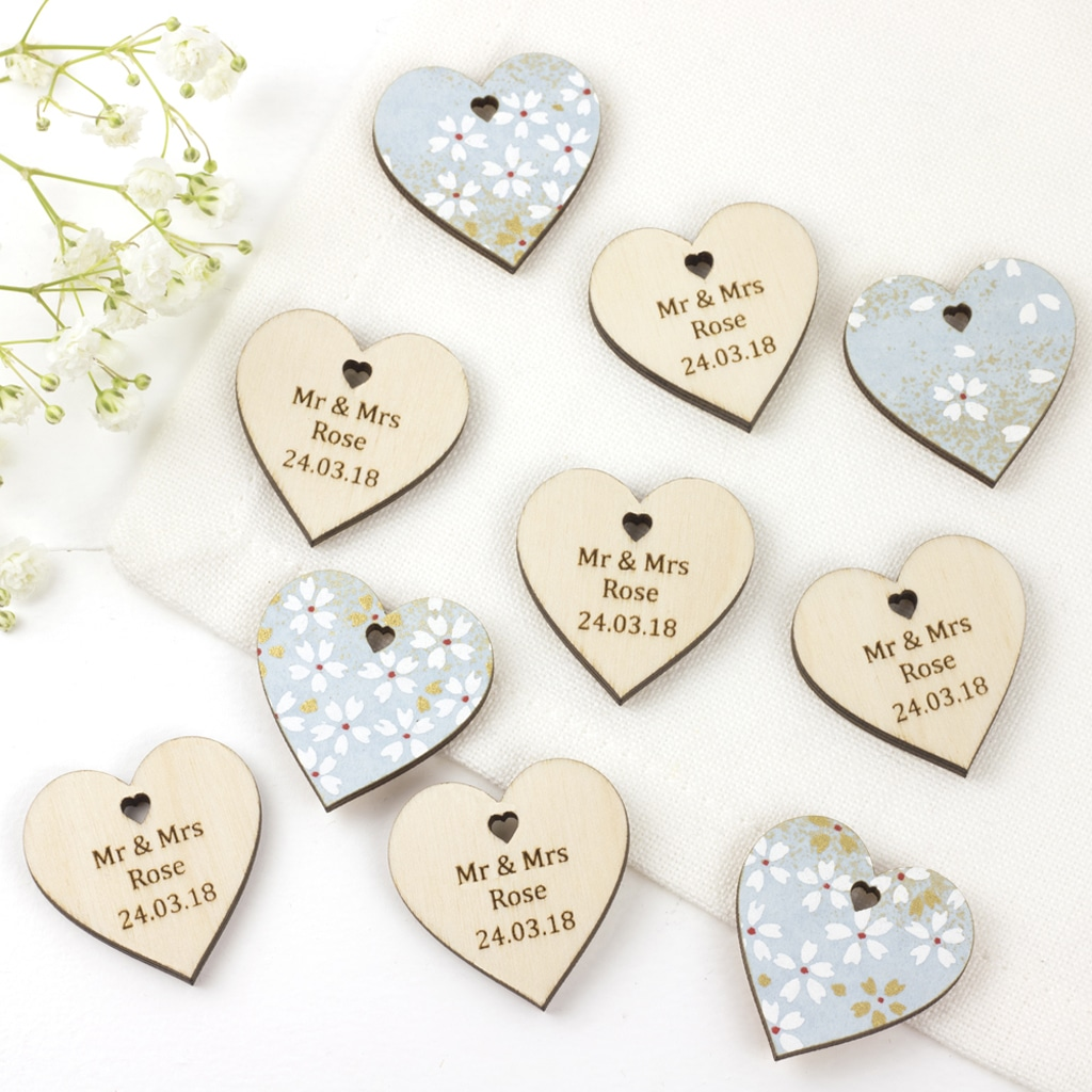 personalised wedding favour hearts cherry blossom blue