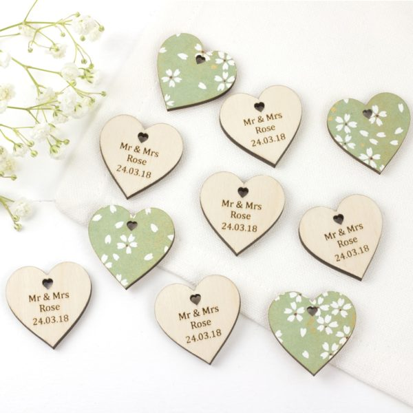personalised wedding favour hearts cherry blossom green