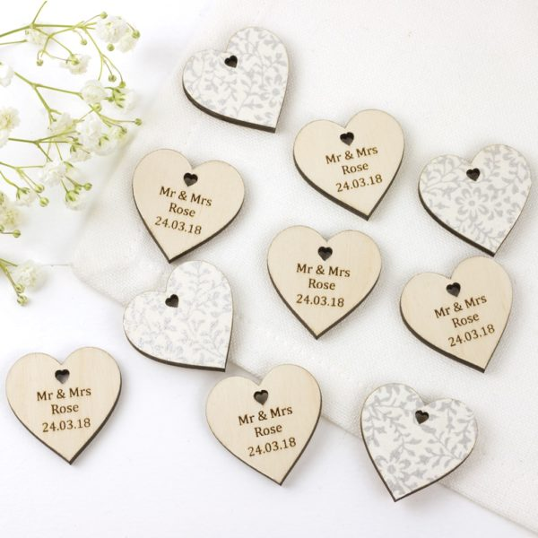 personalised wedding favour hearts white silver
