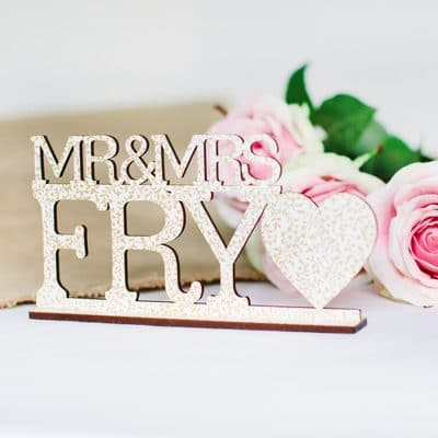 personalised mr & mrs sign white gold