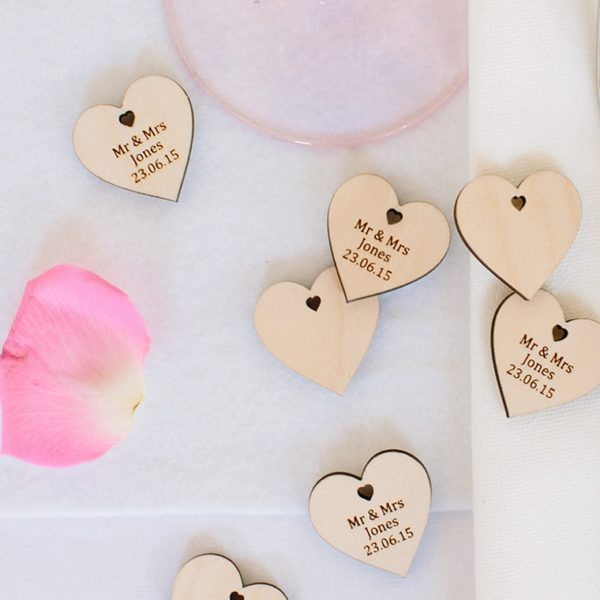 personalised wedding favour hearts
