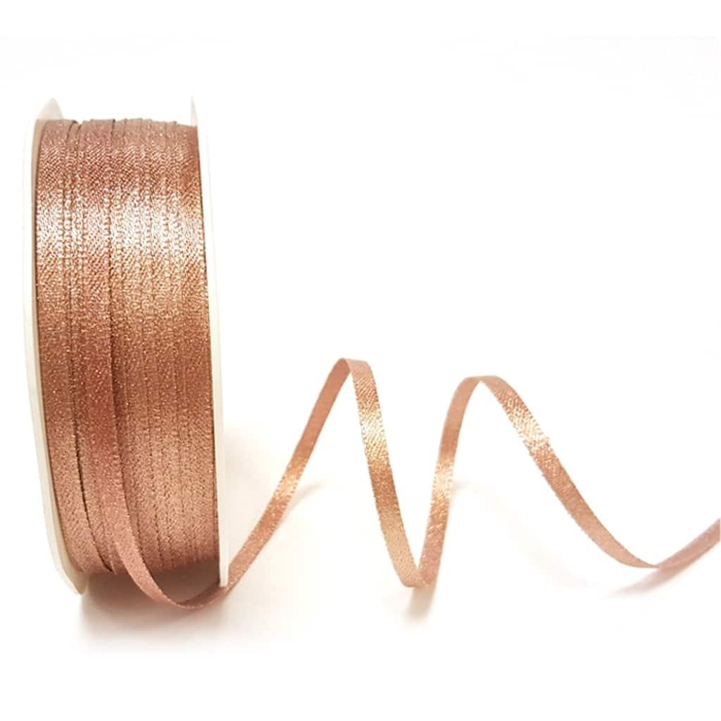 rose gold sparke satin ribbon 3mm