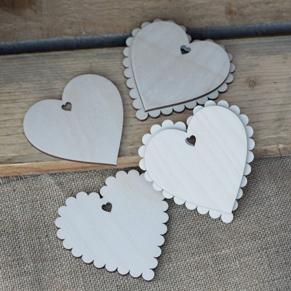 wooden blank scalloped hearts