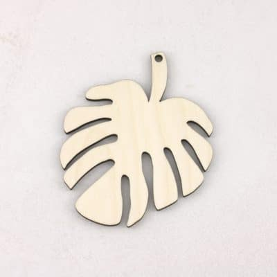 hanging wooden monstera leaves