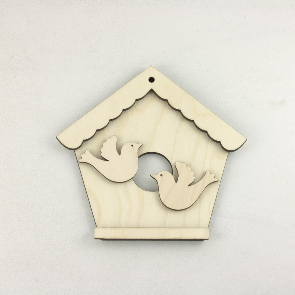 Wooden Birdhouse with doves