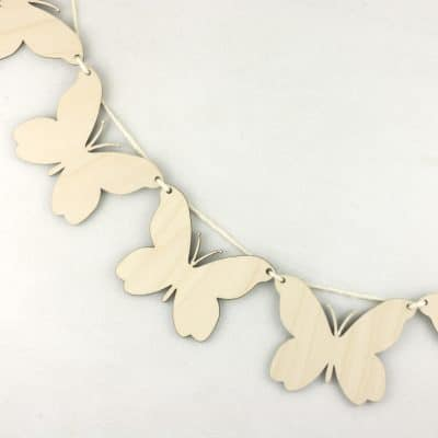 Wooden Butterfly Hanging Bunting 6cm 8cm 10cm