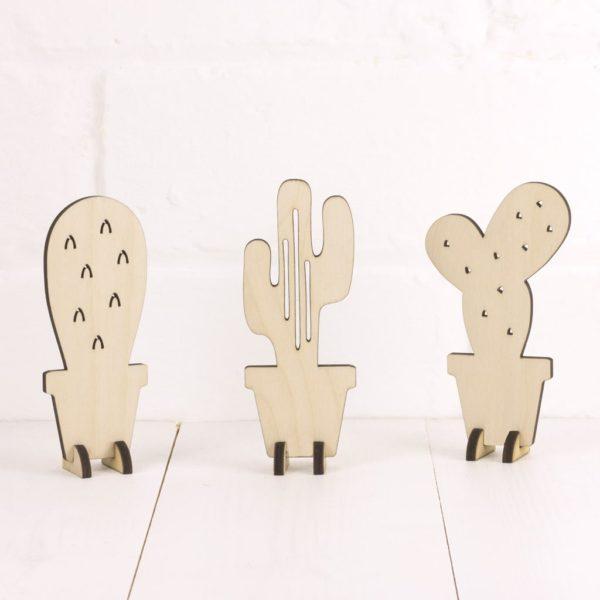 Standing wooden cactus