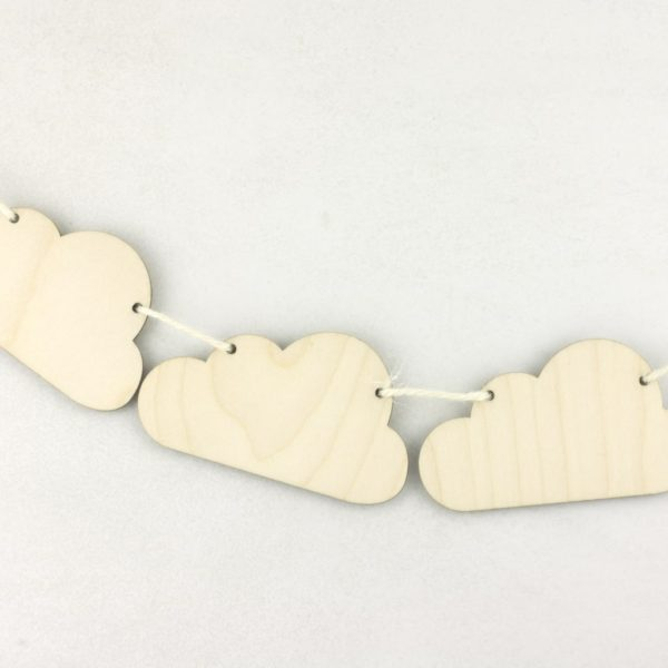 Wooden Hanging Cloud Bunting