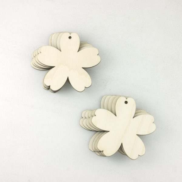 Wooden blossom flower tags x 10
