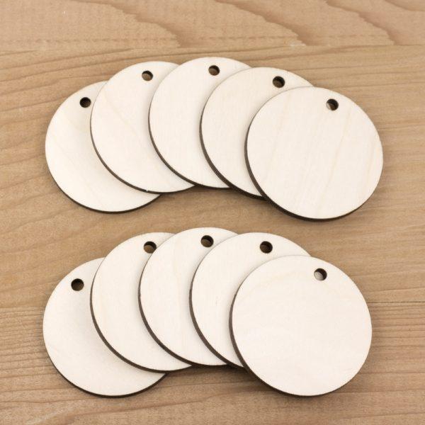 wooden circle tags