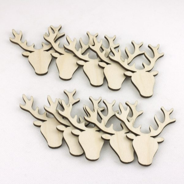 mini wooden stag heads